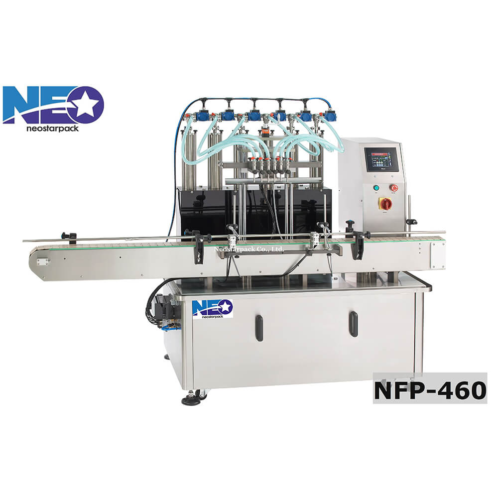 automatic 6 heads piston filling machine nfp 460 neostarpack. Black Bedroom Furniture Sets. Home Design Ideas