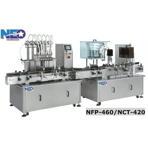 液體自動充填鎖鋁蓋機產線 (NFP-460+NCT-420)