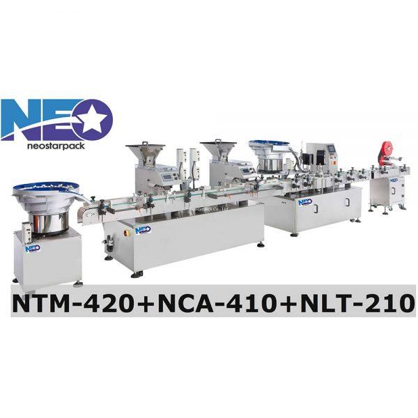全自動高效能數粒-星盤鎖蓋-上貼貼標生產線 (NTM-420+NCA-410+NLT-210)