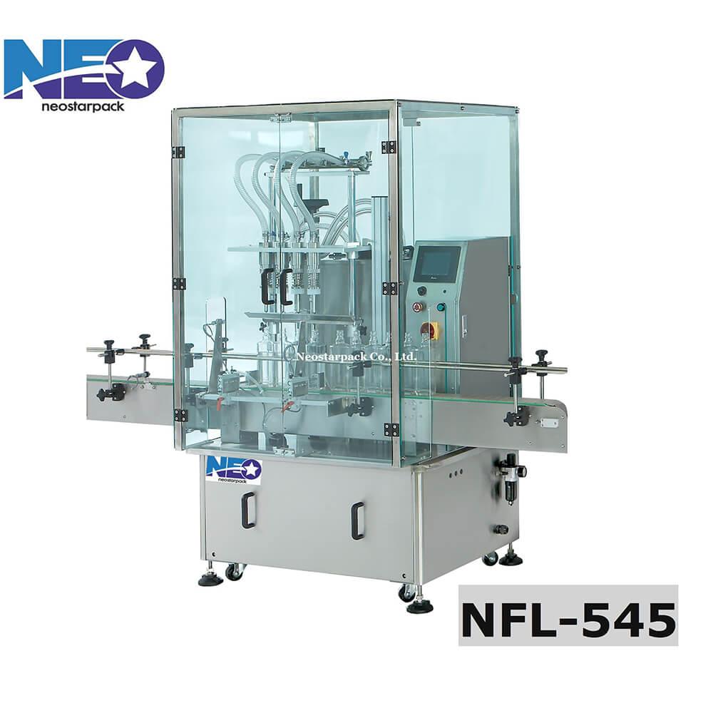 液位式全罩四頭自動充填機 NFL-545 - 新碩達精機股份有限公司