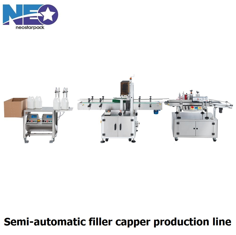 semi-automatic filler capper line